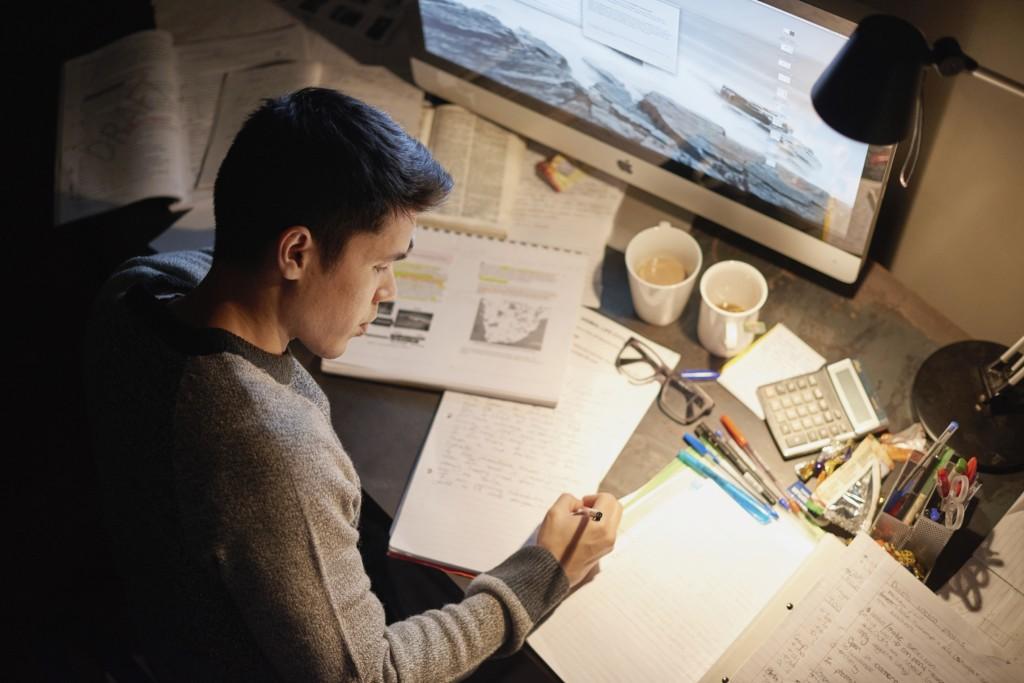 Studying at night
